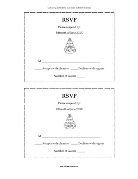 Response Card Template 4 Per Page by Wedding Response Cards Free Printable Allfreeprintable