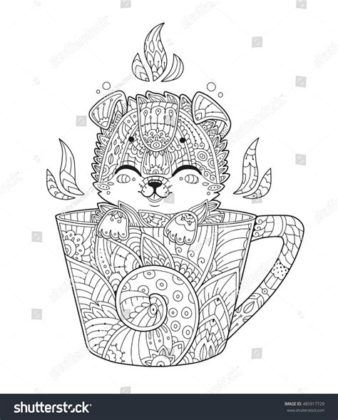 animal zendoodle coloring pages puppy cup adult antistress coloring page stock vector