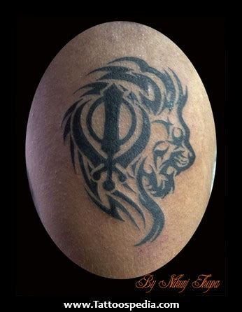 khanda lion tattoos
