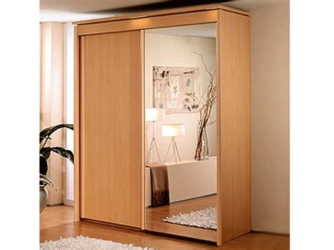 Mirror Sliding Wardrobe by New York 2 Door 1 Mirror Sliding Door Wardrobe In Beech