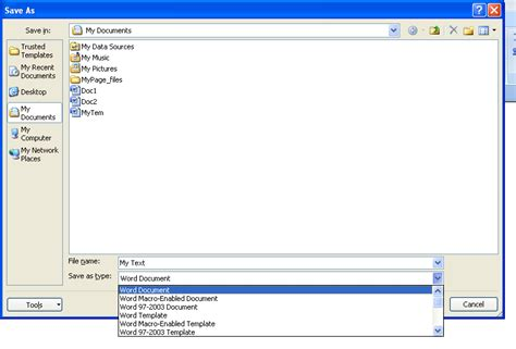 format file microsoft office export a file to another program format document save
