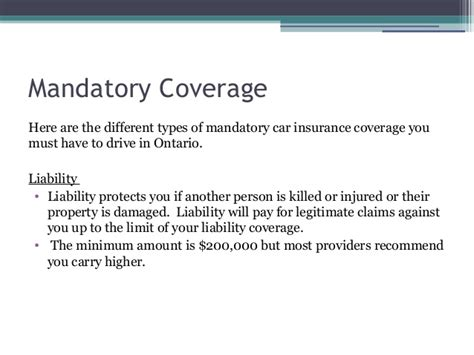 Different Car Insurance Types Uk by Mandatory And Optional Car Insurance Coverage In Ontario