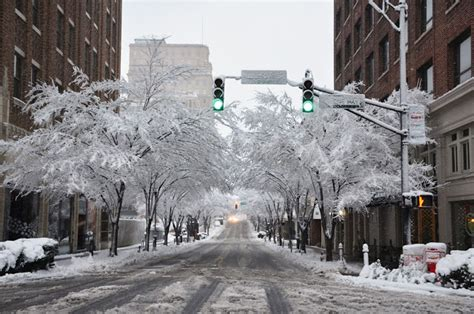 downtown winston salem north carolina in the snow