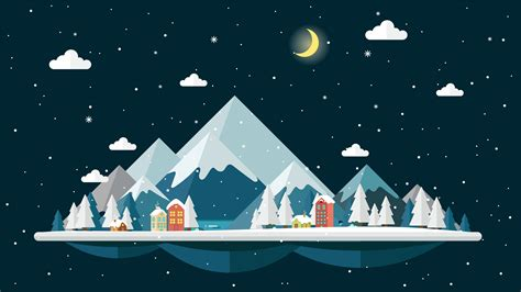 flat design night  winter landscape background   vectors clipart graphics