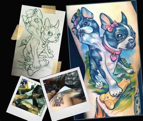 new school tattoo mn two headed boston terrier tattoo by scotty munster
