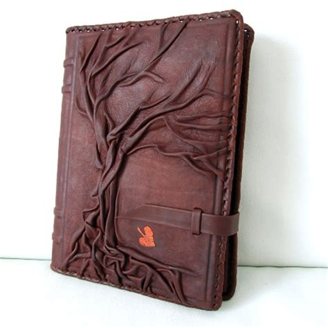 Handmade Leather Diary - ring version 9 x 6 5 tree of refillable vintage