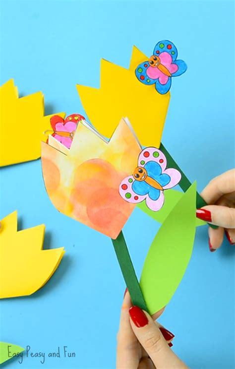 Floral Craft Paper - paper tulip flower craft with printable template easy