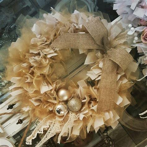 cream gold rag bauble wreath bauble wreath christmas