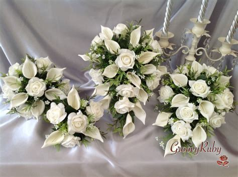 Wedding Flowers For Bridesmaids by Ivory Calla Teardrop Bouquet Bridesmaid