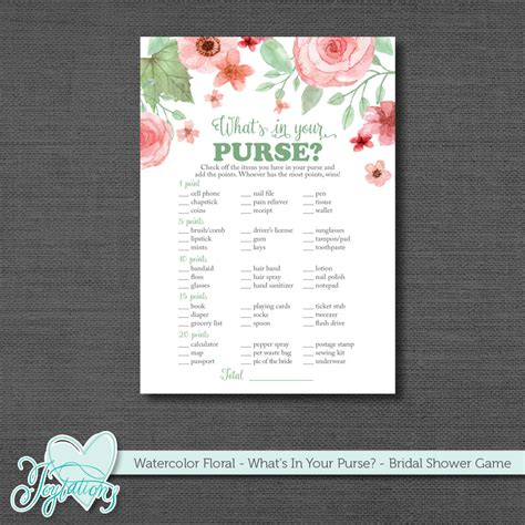 purse for bridal showers what s in your purse bridal shower printable bridal