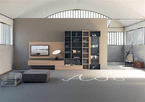 libreria tv librerie con pannello porta tv di design by fimar