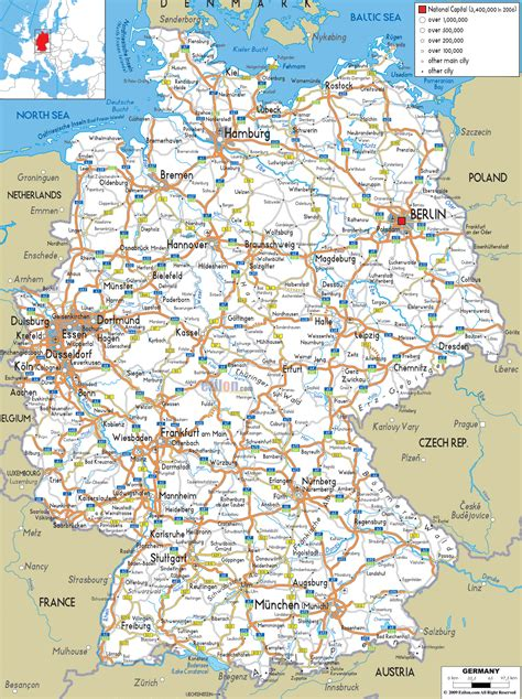 road map of geography detailed map of germany