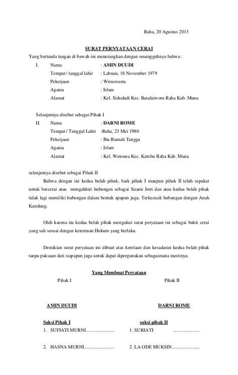 contoh surat kuasa cerai talak wisata dan info sumbar