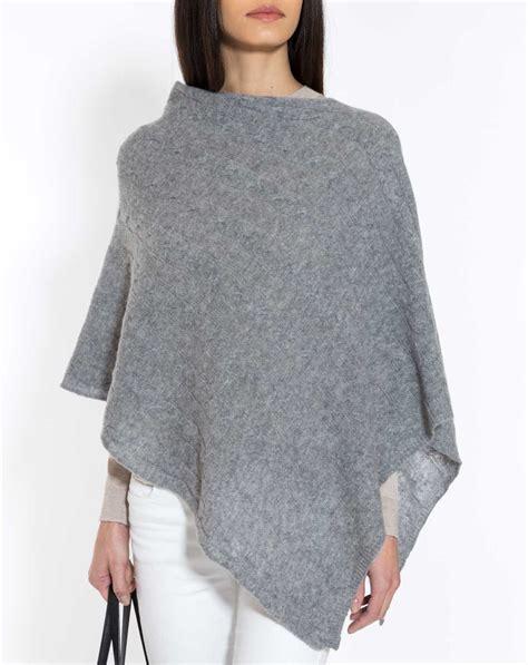knit poncho asymmetrischer zopfmuster poncho 100 kaschmir