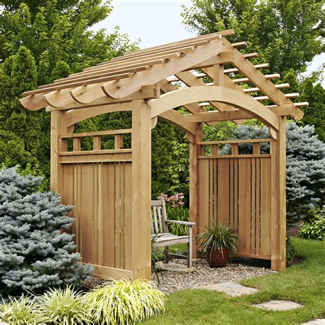 Backyard Arbors Ideas by Arching Garden Arbor Woodworking Plan From Wood Magazine