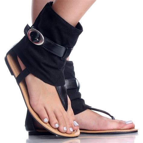 flat toed shoes black suede buckle ankle bootie boot open toe flat sandal
