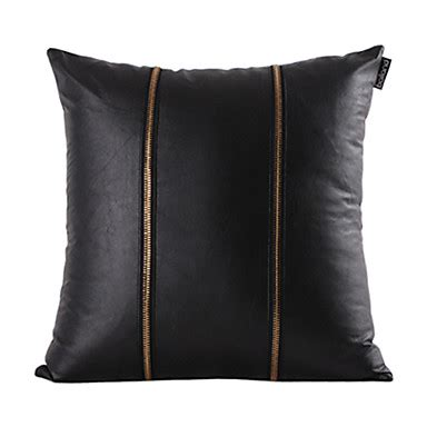 throw pillows for black leather gold zipper black leather decorative pillow cover 500367