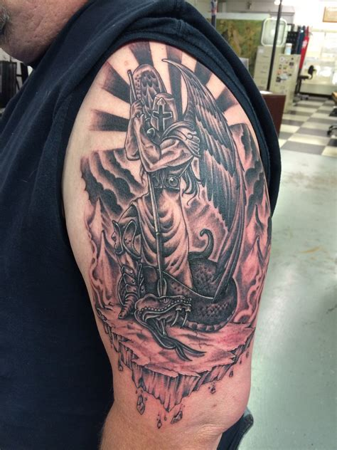 st tattoo st michael finished st michael