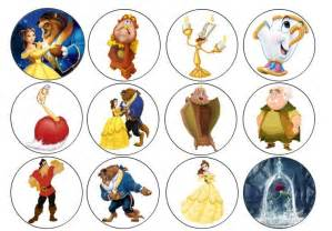 Anime Cake Decorations 24 Beauty And The Beast Edible Cupcake Toppers Icing Or