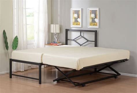 trundle pop up bed twin size metal hirise day bed daybed frame with