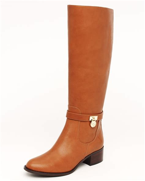 michael kors boots lyst michael michael kors hamilton boot in brown