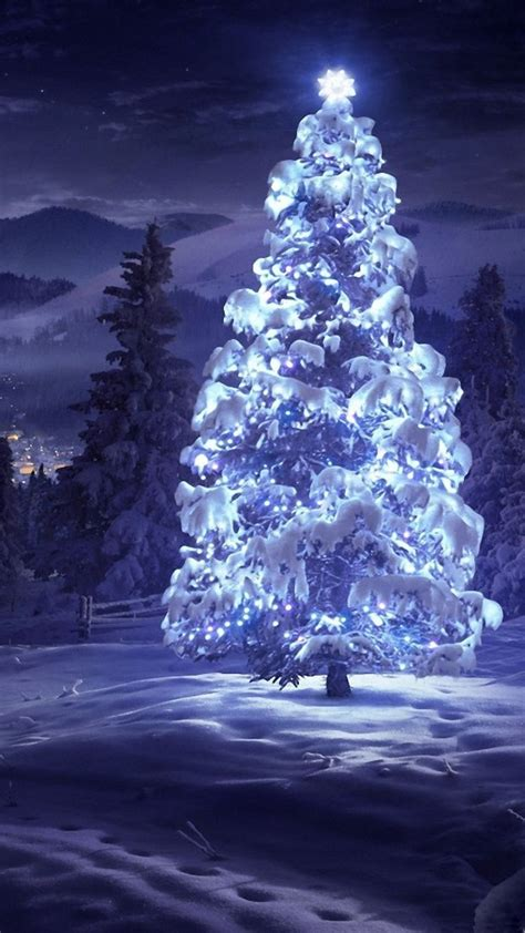 snowball lights for christmas tree tree snow blue lights android wallpaper free