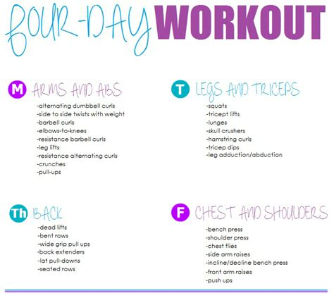 four day workout routine heath fitness