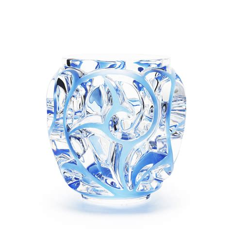lalique vase tourbillons grand vase clear blue patinated