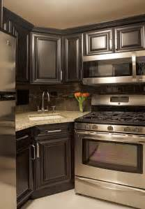 Corner Kitchen Cabinets Design by My Next Kitchen Dark Grey Cabinets With Dark Backsplash
