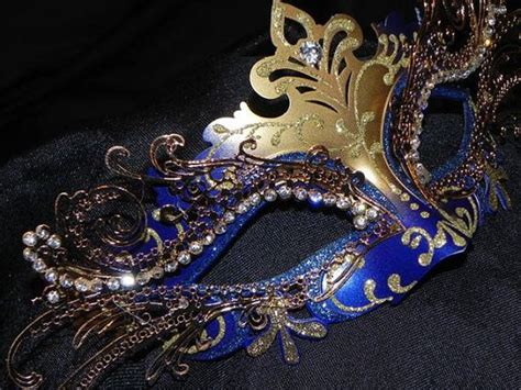 Masquerade In Blue metallic masquerade mask in blue and gold