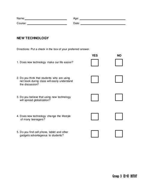 yes or no survey template business statistic survey sle