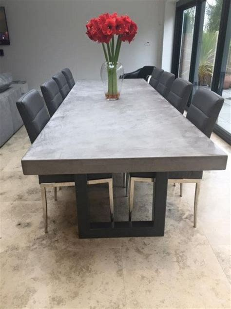 polished chunky concrete dining table  industrial