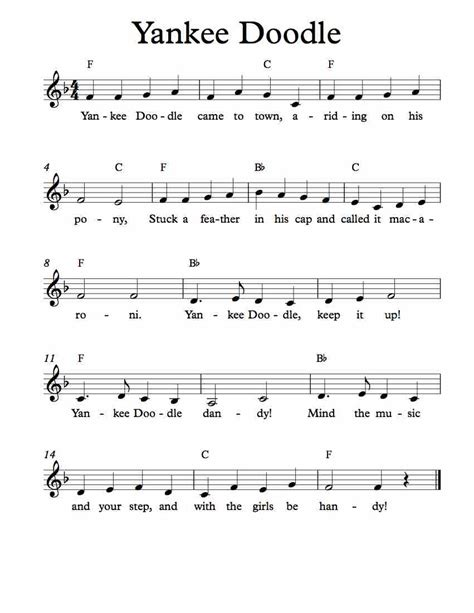 doodle yankee song free sheet for yankee doodle children s song enjoy