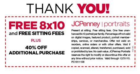 jcpenney portrait coupons printable 7 99 jcpenney portraits free 8x10 no sitting fees