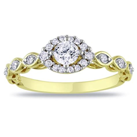 half carat antique style halo engagement ring on 10k