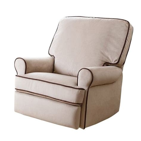 Fabric Swivel Recliner by Bowery Hill Fabric Swivel Glider Recliner Chair In Sand