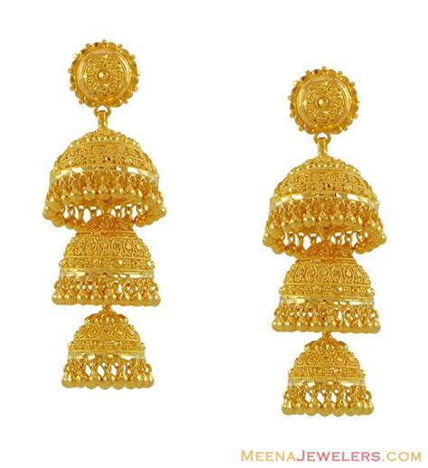 gold jhumka pattern 22k gold jhumkas 22k gold earrings with filigree work