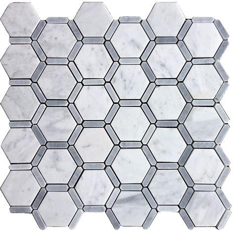 carrara carrera bianco honeycomb hexagon polished marble
