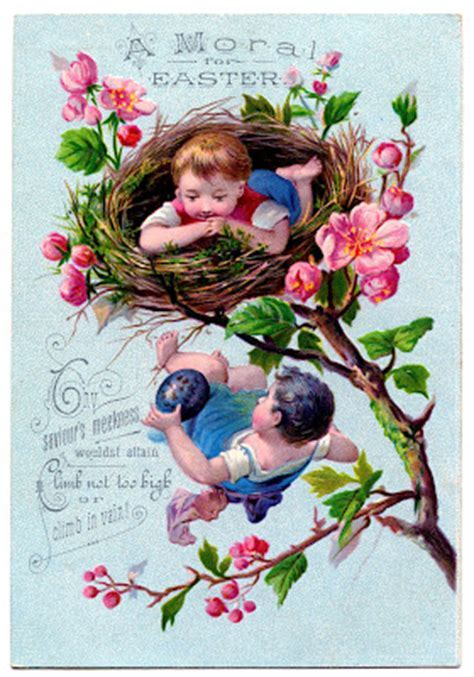 Vintage Easter Clip Art   Children in Nest   The Graphics