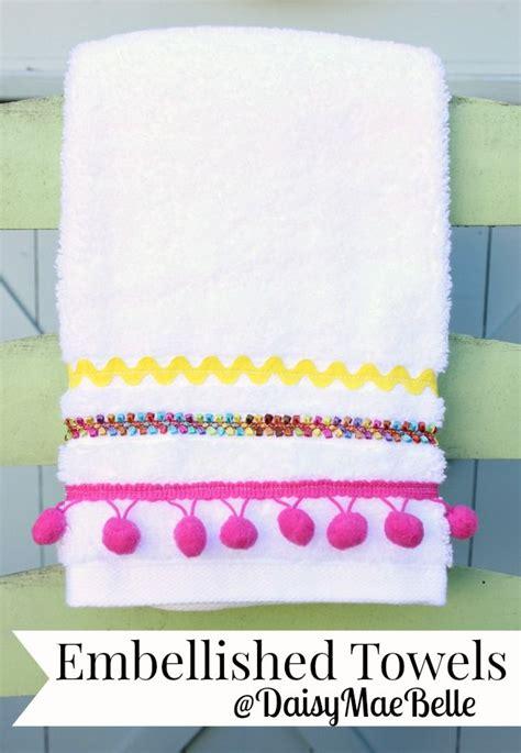 Pompom Trim Towel embellished towels towels pom pom trim and towels