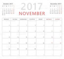Calendrier Lundi Calendrier Agenda Novembre 2017 La Semaine Commence Lundi