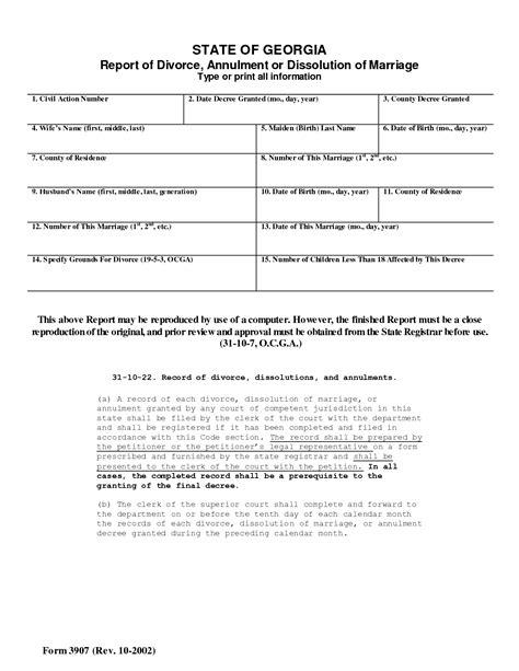 Free georgia divorce form