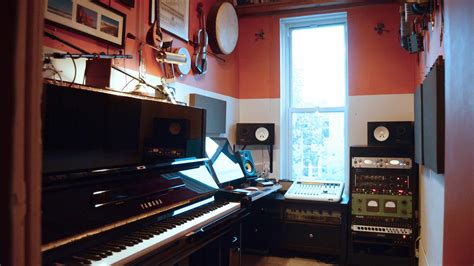 a professional recording studio in an unbelievably tiny room