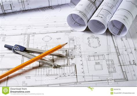 architect plans architecture plans with compass stock image image 60258725