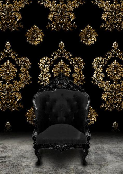 black velvet pattern wallpaper black baroque chair and black velvet and gold damask