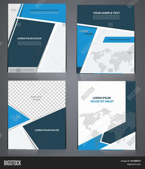 4 page brochure template set of blue business brochures in one style with pixel