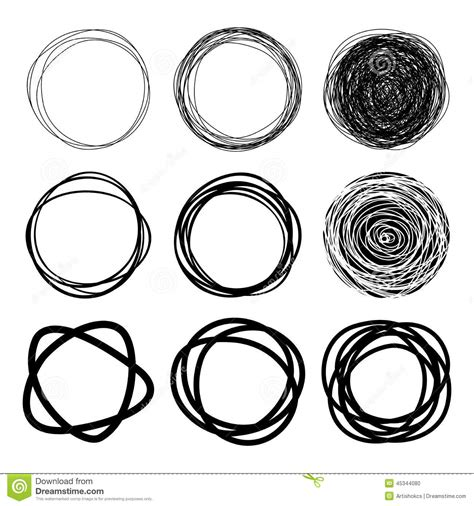 set of hand drawn scribble circles stock vector image