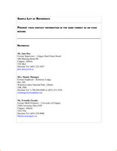 References Template For Resume 11 Example Of List Of References Expense Report Template
