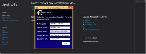 customizing project templates chris hammond new visual studio 2015 templates for dnn
