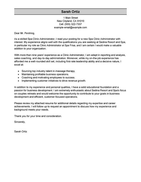 cover letter for healthcare administration internship clinic administrator cover letter sle my
